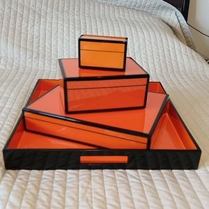 Set of Enamel Boxes with Tray